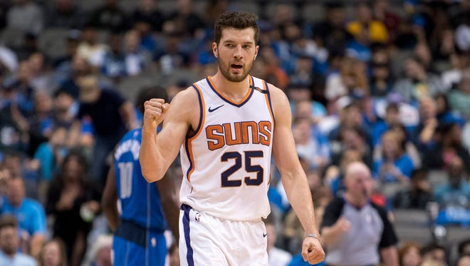 Apr 10, 2018; Dallas, TX, USA; Phoenix Suns forward Alec Peters (25) celebrates making a basket against the Dallas Mavericks during the second half at the American Airlines Center. Mandatory Credit: Jerome Miron-USA TODAY Sports