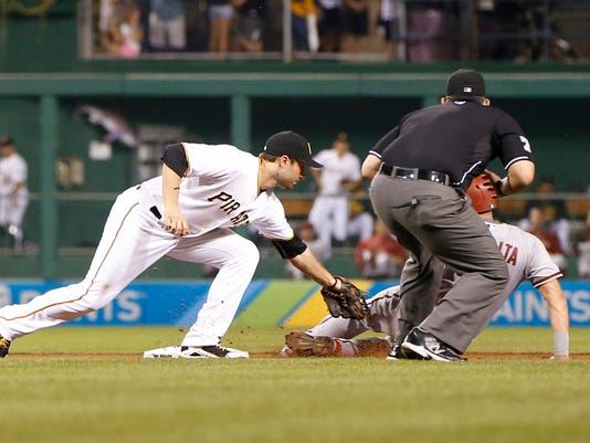 Pittsburgh Pirates second baseman Neil Walker, left, reaches to tag Arizona Diamondbacks' David Peralta as he tries to steal second base in the sixth inning of a baseball game, Monday, Aug. 17, 2015, in Pittsburgh. Peralta was initially called safe but replay overturned the call and he was ruled out. (AP Photo/Keith Srakocic)