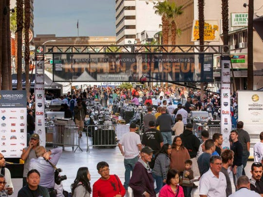 Makeshift cooking stations line Freemont Street in Las Vegas, where contestants will compete in the 2014 World Food Championships. The competition last year drew an average of 25,000 visitors per day.
