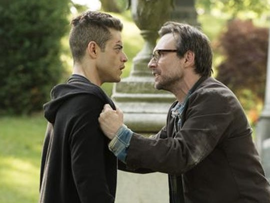 "Rami Malek, left, and Christian Slater of USA's ""Mr."