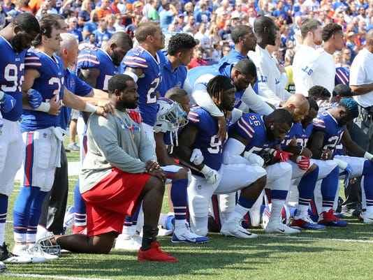 8f092a710 NFL national anthem protest  Trump comment sends Bills captain to a knee