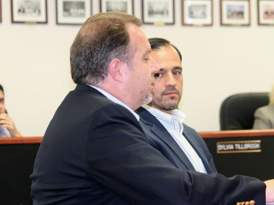 Mace Miller of Kendrick Electric Corporation and Border Solar Vice President Javier Ruiz answer Otero County Commissioner's questions regarding a purchase agreement between Otero County and Helios Group to install a solar field at the Otero County Prison at their March 9 meeting.