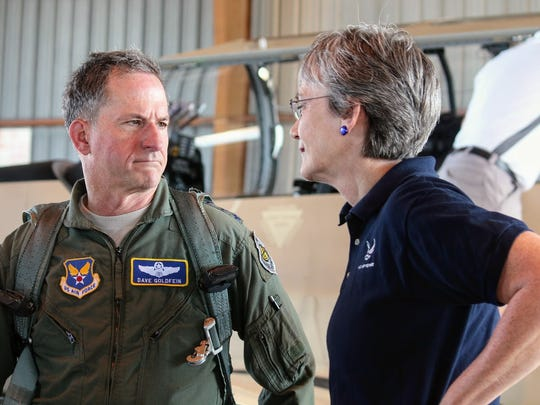 Chief of Staff of the Air Force Gen. David L. Goldfein and Secretary of the Air Force Dr. Heather Wilson chat for a brief moment at Holloman Air Force Base Wednesday.