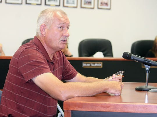 La Luz resident Dieter Rehwald went before County Commissioners Thursday, Sept. 21 to discuss that corrective measures that were put in place on his property have not held up and was searching for other options.