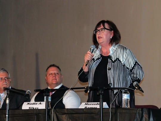 Incumbent City Commissioner Nadia Sikes introduces