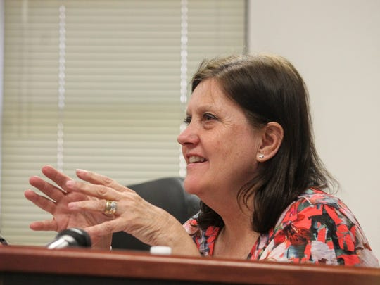 County Commissioner Susan Flores discusses the drafted ordinance on firework safety and use at a County Commission public hearing Wednesday.