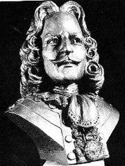 A bust of Antoine Laumet de Lamothe Cadillac, the founder