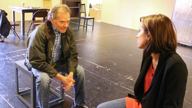 "Delaware Theatre Company executive director Bud Martin  and actress Karen Peakes rehearse for ""Heisenberg."""