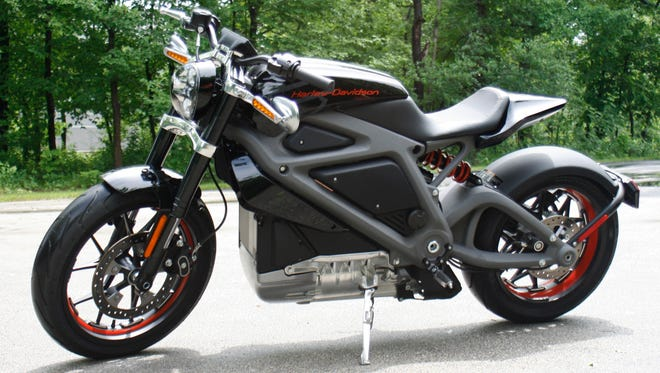 Harley-Davidson's first electric motorcycle shown at the company's research facility in Wauwatosa, Wis.