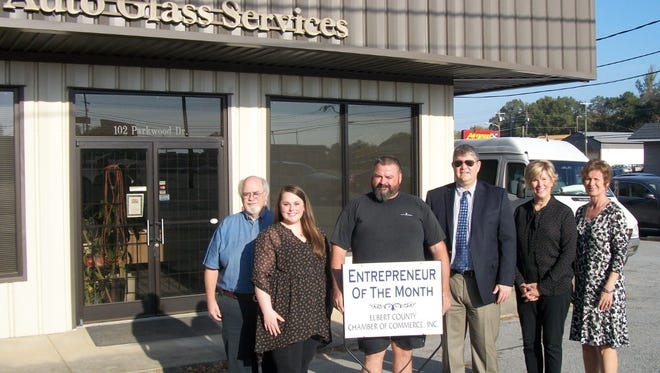 """Shown at the """"Business of the Month"""" celebration event are Bill Brown, Lydia Hernandez, Robby King, Bill Daughtry, Val Evans and Pam Brown."""