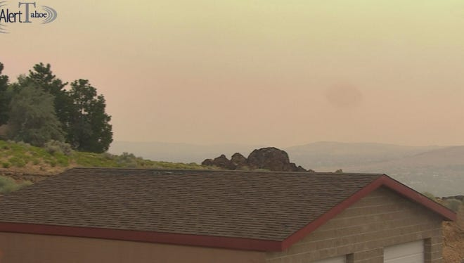 Smoke blankets Reno on Monday, July 30, 2018 as seen from a webcam at the NOAA weather station.