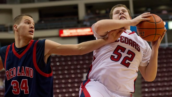 Red Land's Mike Zangari, left, reaches for a rebound during District 3 tournament action. The former Patriots' star stepped down as its boys basketball coach after only two seasons.