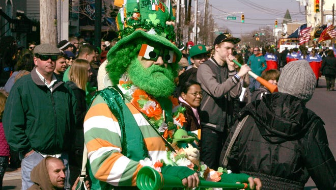 Kevin Sheehan, Belmar, has his Irish on during the 43rd Annual St. Patrick's Day Parade in Belmar, NJ, Sunday, March 6, 2016.