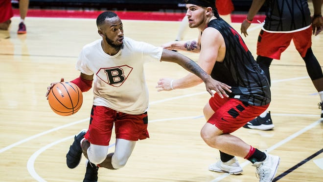 Ball State's Jeremie Tyler, left, works against Tayler Persons in practice earlier this year.