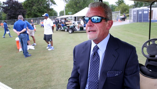 Indianapolis Colts owner Jim Irsay talks to reporters following the second day of Training Camp Friday July 25, 2014, afternoon at Anderson University. Matt Kryger / The Star