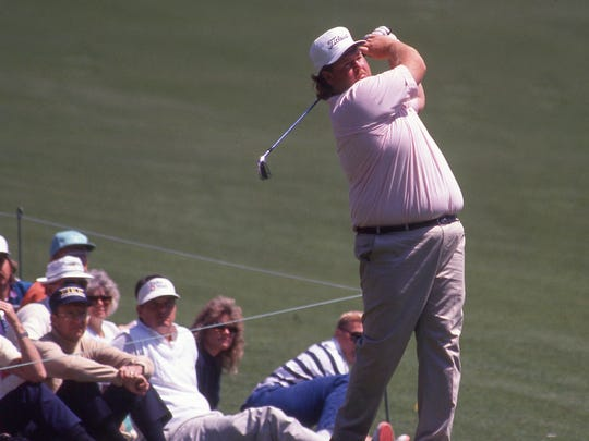 Chris Patton plays a practice round at the Masters on April 4, 1990.