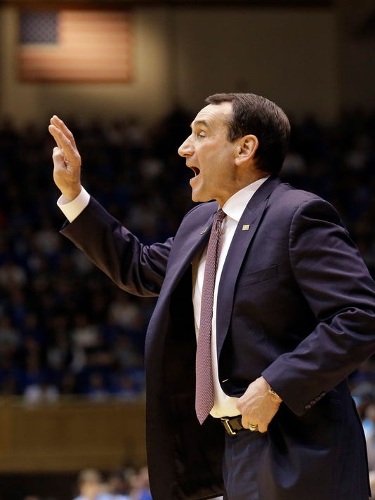 Duke head coach Mike Krzyzewski directs his team during the first half of an NCAA college basketball game against North Carolina in Durham, N.C., Saturday, March 5, 2016. North Carolina won 76-72. (AP Photo/Gerry Broome)