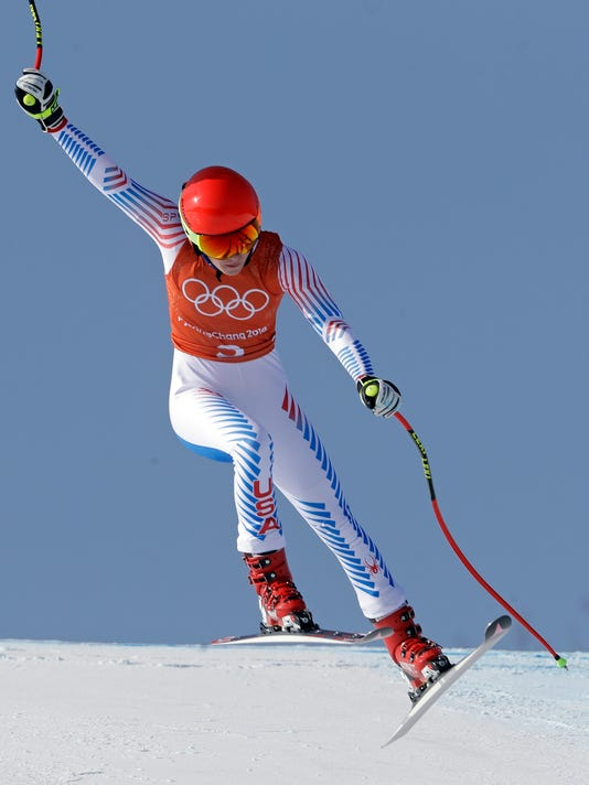 United States' Mikaela Shiffrin competes in women's downhill training at the 2018 Winter Olympics in Jeongseon, South Korea, Tuesday, Feb. 20, 2018. (AP Photo/Luca Bruno)