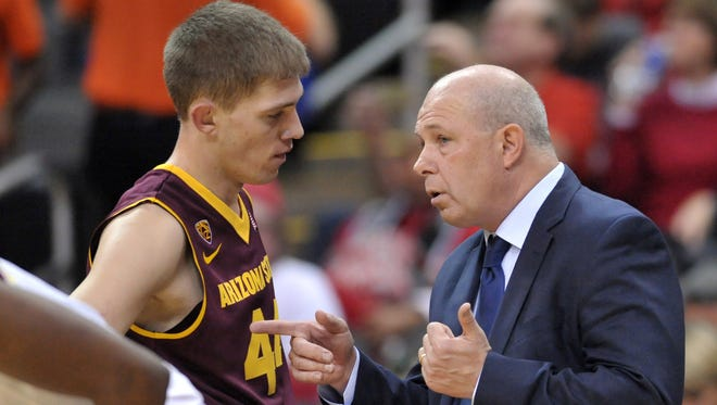 Arizona State Sun Devils head coach Herb Sendek talks with guard Kodi Justice (44) on the sidelines during the first half against the Maryland Terrapins at Sprint Center on Nov. 24, 2014.