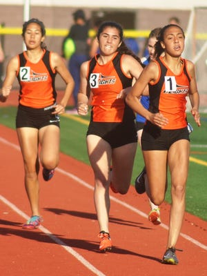 Hasbrouck Heights sophomore Serena Torres is leading the pack with sophomore Mia Minichiello and senior Sydney Fontalvo following.