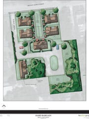 A bird's eye view rendering of Bungalow Court.