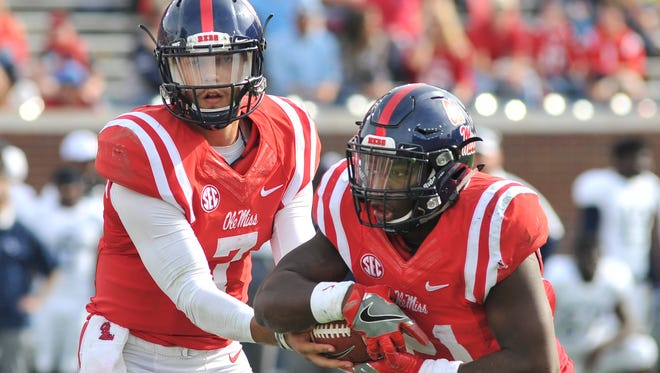 Ole Miss quarterback Jason Pellerin (7) filled in for Chad Kelly in the second half on Saturday.