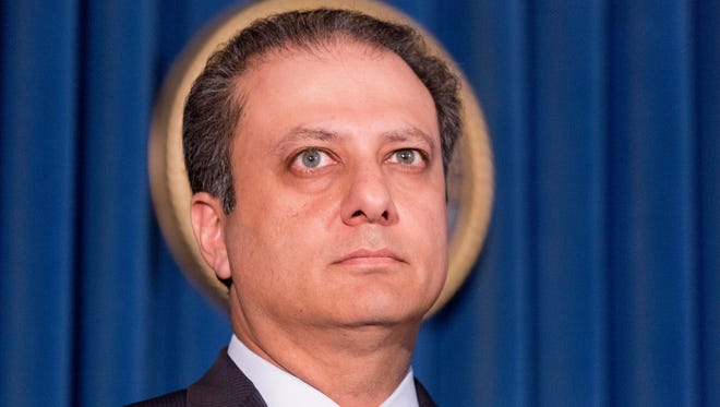 U. S. Attorney Preet Bharara announces the arrest of four people in connection with New York City's ongoing corruption probe, Monday, June 20, 2016, in New York. Two high-ranking New York Police Department officials and a police sergeant who oversaw gun license applications were among the latest arrests in a case that has cast a cloud over the nation's largest municipal police force. (AP Photo/Mark Lennihan)