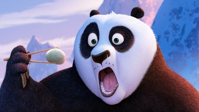 Po (voiced by Jack Black)  inhales a dumpling in 'Kung Fu Panda 3.'