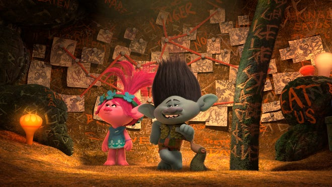 The overly cautious Branch (right, voiced by Justin Timberlake) shows off his Fear Bunker to Poppy (Anna Kendrick) in 'Trolls.'
