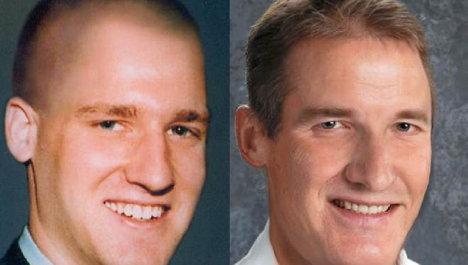 An age progression photo of Jason Knapp shows him as he would look now, at right, at the age of 39. At left is how he looked at the time of his disappearance in 1998.