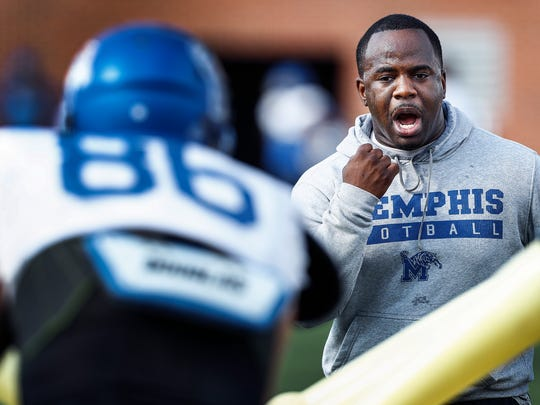 University of Memphis running back coach Anthony Jones during spring football practice.