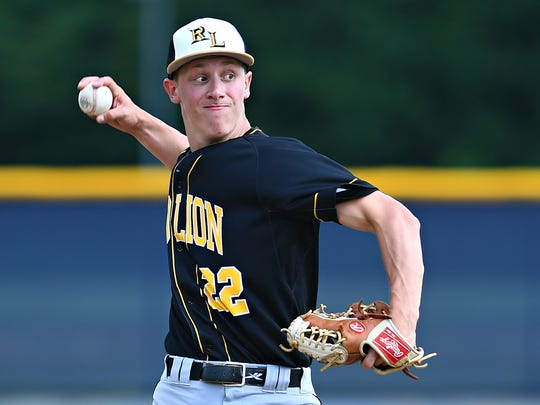 Red Lion's C.J. Czerwinski pitches against La Salle College during District 3 Class 6-A quarterfinal action at Manheim Township High School in Lancaster, Thursday, June 7, 2018. Dawn J. Sagert photo