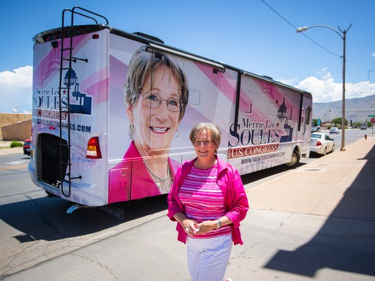 Merrie Lee Soules, who is running for Congressional District 2 against Rep. Steve Pearce, walks from her campaign bus to a rally in Alamogordo, July 9, 2016. The rally was held as a counter-protest to the Stand By Me for Liberty group holding a rally across the street at Alameda Park organized, the group said, to raise awareness about the violation of rancher's private property and water rights by the New Mexico Bureau of Land Management and the U.S. Forest Service.