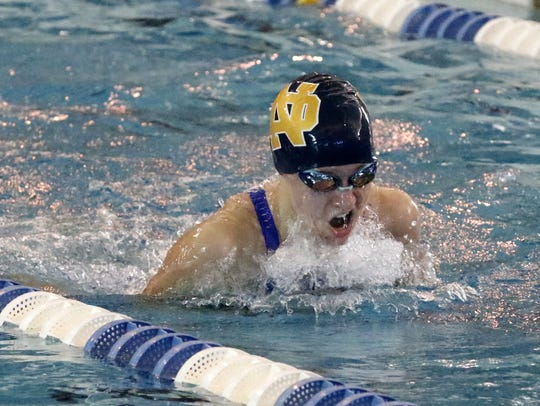 Notre Dame's Catherine Craig swims the 200 IM during
