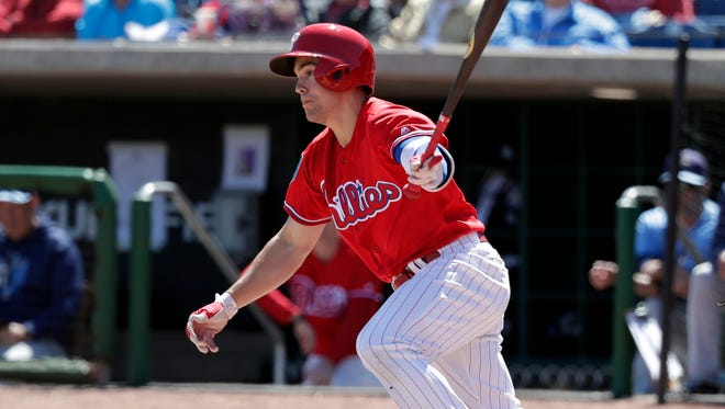 Scott Kingery is second on the Phillies with four home runs this spring. If he doesn't start the season with the big club, he could be up sometime in April.