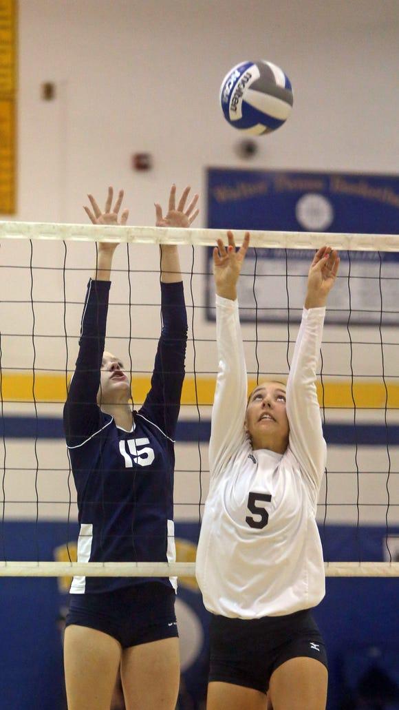 Suffern's Alyssa Weissman battled Pawling's Julia Krasinski during the 12th Annual Panther Invitational Volleyball Tournament at Walter Panas High School in Cortlandt Manor Oct. 24, 2015.