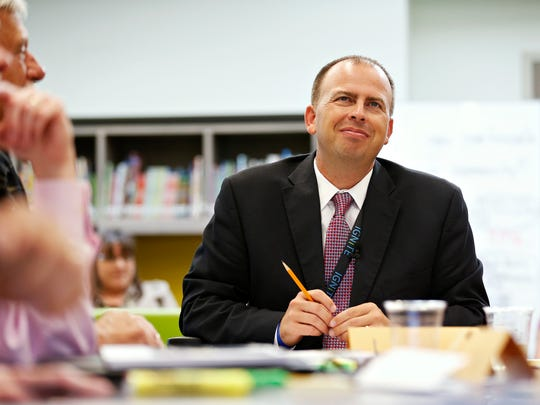 Springfield Public Schools superintendent Dr. John Jungmann looks over board members during a Springfield Public Schools Board of Education meeting at Fremont Elementary in Springfield, Mo. on Sept. 27, 2016.