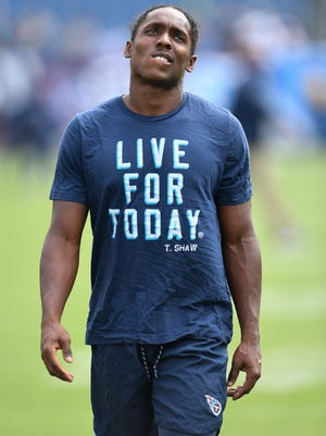 Titans cornerback Adoree' Jackson (25) warms up before their game against the Seahawks at Nissan Stadium Sunday, Sept. 24, 2017 in Nashville, Tenn.