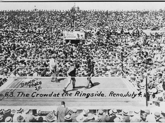 The Reno arena on July 4, 1910 hosted the heavyweight championship fight between Jack Johnson and Jim Jeffries.  More than 20,000 people filled the arena to witness the heavyweight championship fight between champion Jack Johnson and former champion Jim Jeffries on July 4, 1910 in Reno.