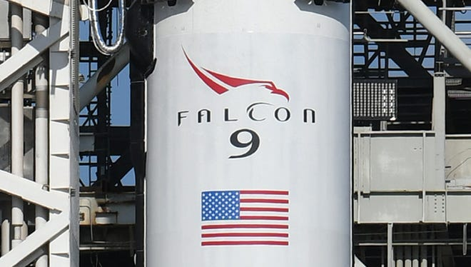 SpaceX's first Falcon 9 Block 5 sits on pad 39A at Kennedy Space Center before its first launch in May 2018 with a Bangladeshi communications satellite. The rocket features upgrades that improve reusability, thrust and turnaround time between missions.