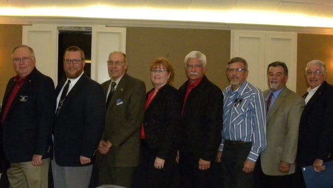 Ten past-presidents of the Pecan Valley Kiwanis Club attended its 40th anniversary Sweetheart/Awards Banquet. From left: Bill Thedford, Morris Horton, James Glasscock, Bill Bellich, Deborah Price, Ralph Watts, Roy Parrack, Ricky Marks, Don Holland and Bill Pursch.