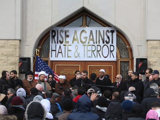 Ali Dabja of Dearborn Heights and a member of #DearbornStong, makes a point to the crowd of 150 people who came to the Islamic Center of America in Dearborn on Saturday, December 19, 2015 to rally against terrorism and hate.