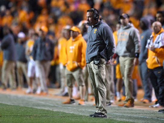Tennessee coach Butch Jones watches play against Missouri during the second half Saturday at Neyland Stadium.