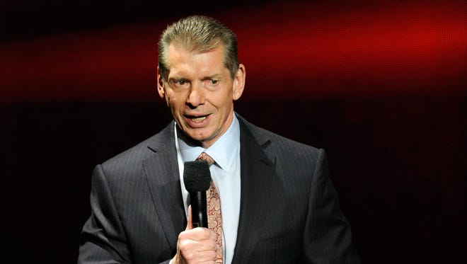 WWE chairman and CEO Vince McMahon speaks at a 2014 news conference announcing the WWE Network.