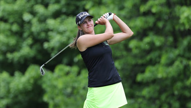 Saline's Sarah Hoffman tees off on the seventh hole during the first round of the LPGA Volvik Championship on May 26, 2016 at Travis Pointe Country Club in Ann Arbor.