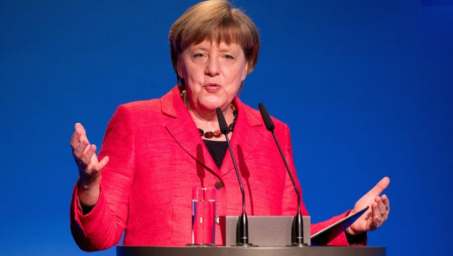 German Chancellor Angela Merkel speaks on Thursday, March 16, 2017 at the demographic summit of the federal government in Berlin, Germany. (Kay Nietfeld/DPA/Abaca Press/TNS)