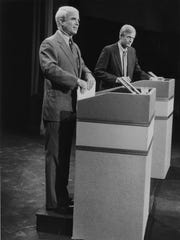 "During the debate at Carl Hayden High School in Phoenix, Richard Kimball accused John McCain of ""climbing up on a soap box,"" apparently referring to the box that the TV stations had him stand on for their camera angles in 1986."