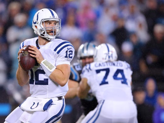 Indianapolis Colts quarterback Andrew Luck (12) drops back to pass during the first half of an NFL football game Monday, Nov. 2, 2015, at Bank of America Stadium in Charlotte, North Carolina.