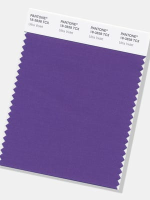 "The color experts at the Carlstadt, New Jersey-based Pantone say the deep purple shade was chosen for 2018 to evoke a counterculture flair, a grab for originality, ingenuity and visionary thinking. ""Ultra Violet"" follows Pantone's 2017 Color of the Year, ""Greenery."""