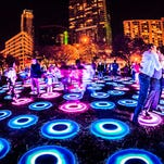 Denver artist Jen Lewin's sculpture features 106 intuitive pads that respond to pressure and speed as you run, jump and play within the artwork.